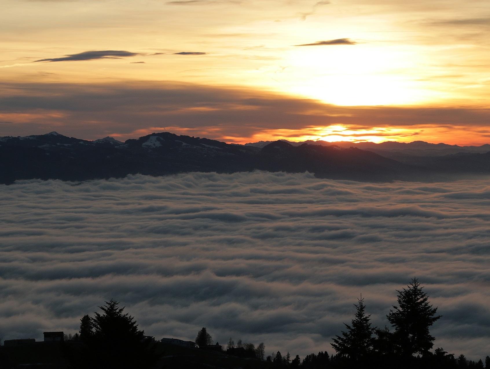 Sonne Schweiz Winter Landschaft