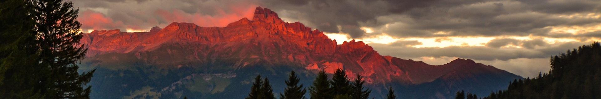 Schweiz Wallis Sonneuntergang